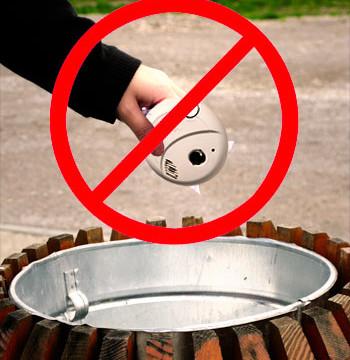 Photo of improper smoke detector disposal.