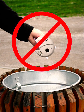 Photo of improper smoke detector disposal.